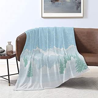 Snowflake Comfortable Large Blanket Snow Blanketed Landscape Woods Pine Trees Christmas Winter Theme Illustration Microfiber Blanket Bed Sofa or Travel W91 x L60 Inch Multicolor