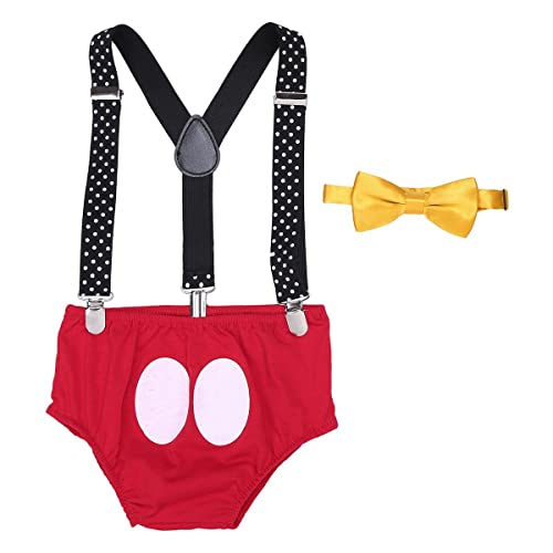 7505d2e54 YiZYiF Baby Boy's Girl's Y Back Clip Suspenders 1st Birthday Bloomers  Bowtie Outfits Set