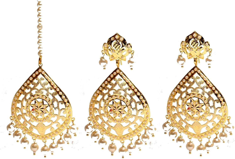Jadau Earrings Indain Jewelry Bridal Punjabi Indian Wedding Earrings Tikka Muslim Jewelry Set