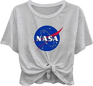 Ladies NASA Space Fashion Shirt - NASA Classic Logo Tie Front Short Sleeve Tee