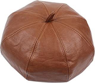Lxy Hat Female Autumn and Winter Leather 8 Square Cap Belle Travel Fashion wk (Color : Brown, Size : Adjustable)