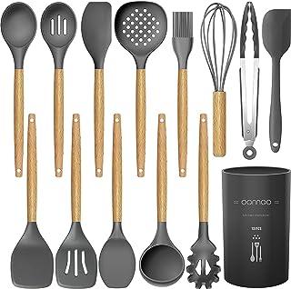 ظروف پخت و پز آشپزخانه سیلیکون مجموعه آشپزخانه آشپزخانه - 11 قطعه چوبی دسته های چوبی آشپزی ابزار آشپزخانه آشپزخانه آشپزخانه آشپزخانه آشپزخانه آشپزخانه -