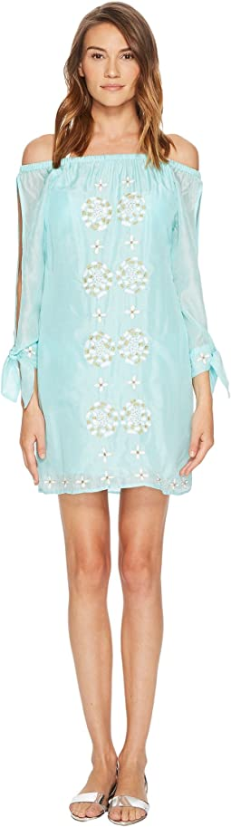 Embroidered Off the Shoulder Dress Cover-Up