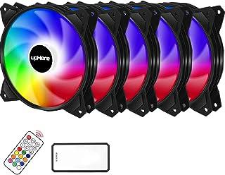 upHere 120mm RGB LED Ventilateur pour Boîtiers D'ordinateur Silencieux avec Télécommande,5 Pack (PF1206-5)