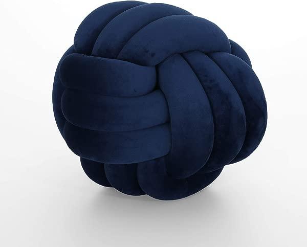 Great Deal Furniture 309430 Sade Modern Soft Velvet Triple Halyard Knot Pillow Blue Depths