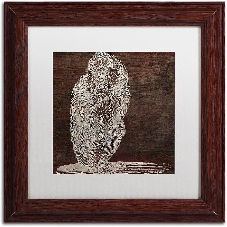 Trademark Fine Art Monkey by color Bakery, White Matte, Wood Frame 11x11, Wall Art