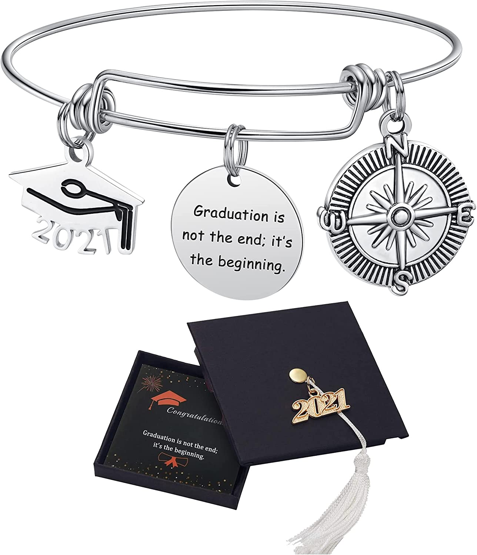 2021 Graduation Gifts Bangle Bracelet Graduation Cap Compass Expandable Bracelet Inspirational Bracelet for Women Girl: Clothing
