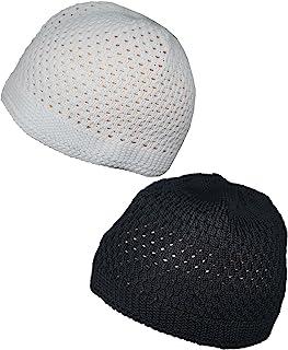 مجموعة أسود أبيض قبعة جمجمة مسلم قبعة صغيرة من الكروشيه الإسلامي قبعة تاك الكوفية