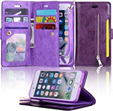 for iPhone 6 Case iPhone 6S Wallet Case LAPOPNUT Luxury Wallet PU Leather Flip Case Dual Folio Card Slot Sleeve Housing with Wrist Strap Magnetic Stand Case Cover, Purple