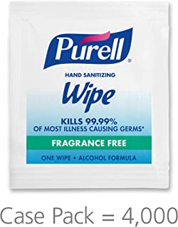 PURELL Hand Sanitizing Wipes Alcohol Formula, Fragrance Free, 4000 Individually Wrapped Hand Sanitizing Wipes Packets (Pack of 4000) - 9021-4M