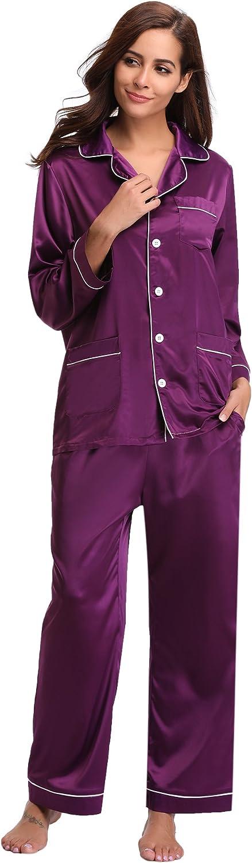 Aibrou Women's Satin Pajamas Set