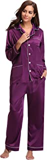Women's Satin Pajamas Set Long Sleeve and Long Button-Down Sleepwear Loungewear