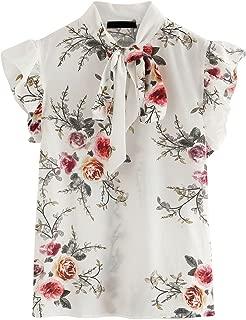Women's Casual Short Sleeve Ruffle Bow Tie Blouse Top Shirts