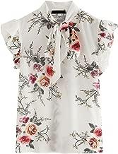 Romwe Women's Casual Short Sleeve Ruffle Bow Tie Blouse Top Shirts