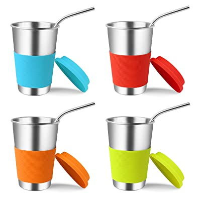 Stainless Steel Cups with Lids and Straws, Kere...