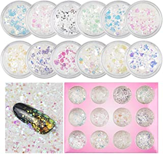 QIMYAR Nail Art Glitter Chunky Sequins Iridescent Mermaid Flakes Ultra-thin Tips Colorful Mixed Paillette For Hair