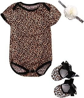 Newborn Baby Girl Floral or Leopard Romper Bodysuit Jumpsuit Headband Shoes 3pcs Clothes Set Summer Outfit