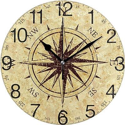 senya Vintage Grunge Compass Design Round Wall Clock, Silent Non Ticking Oil Painting Decorative for Home Office School Clock Art