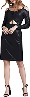 Women's Long Sleeve Tie Front Dress Casual Knit V-Neck Spaghetti Strap Dresses with Exposed Midriff & Shoulders