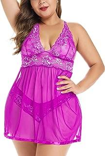 JuicyRose Open Back Lingerie Babydoll Lace Sleepwear Plus Size