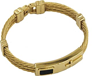 LexBu Men Cable Wire Bracelet Bangle Stainless Steel Twist Chain Wristband Sport Cross Gold Silver