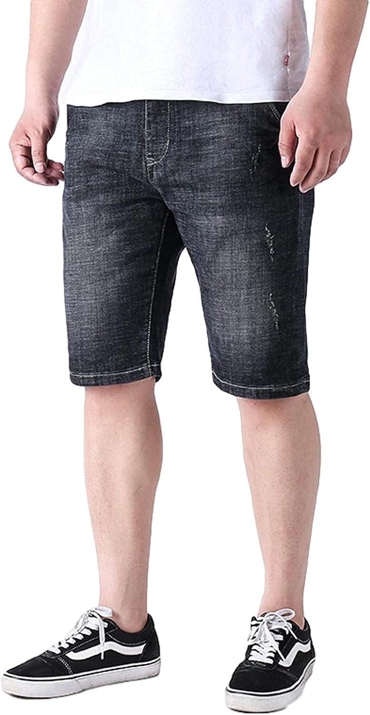 ZYUEER Men's Stretch Slim Fit Denim Shorts Cotton Comfortable Breathable Solid Color