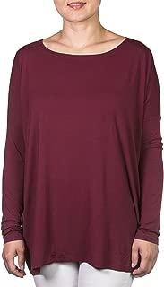 Long Sleeve Piko Top in Dark Maroon- Medium