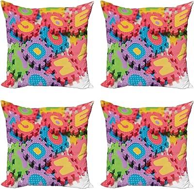 ABAKUHAUS Puzzle ABC Lot de Housses de Coussin en 4 pièces, Fermer Plan d'outils en Mousse, Impression Numérique Recto-Verso Moderne, 50 cm x 50 cm, Multicolore