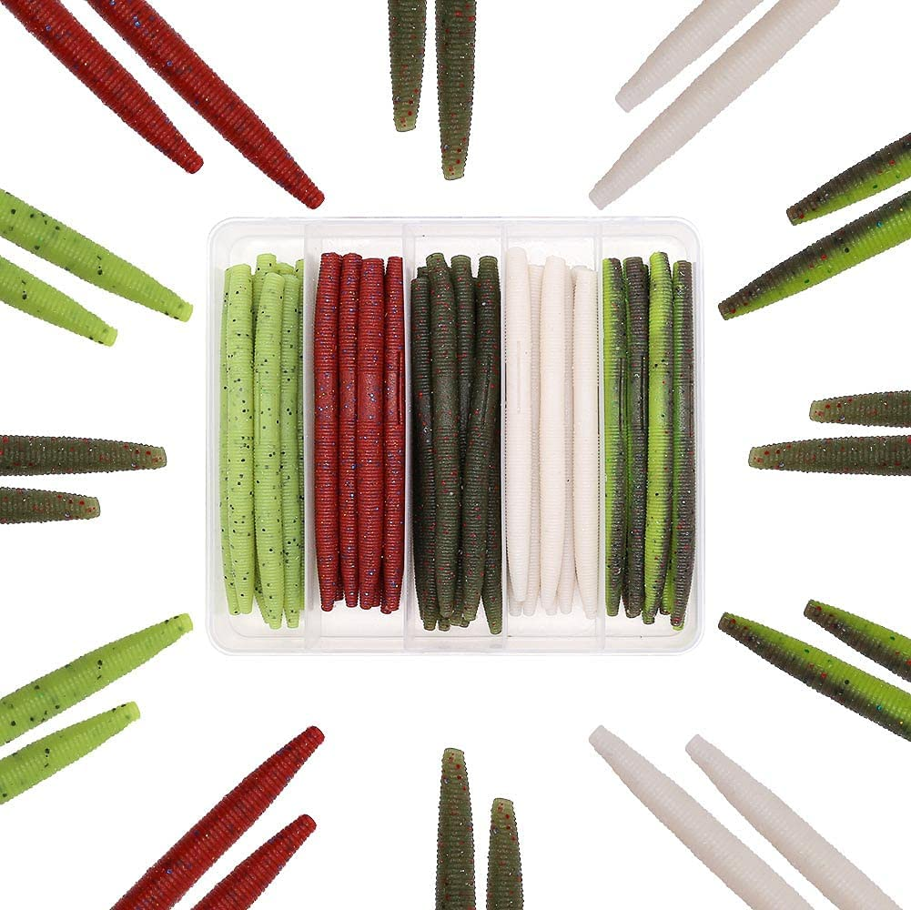 Award Senko-Worms-Bass-Fishing-Lure-Kit-Wacky-Rig-Worms-Soft-Plastic-S Bargain