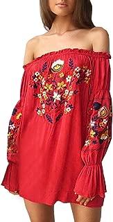 Womens Floral Embroidered Off Shoulder Long Sleeve Short Dresses