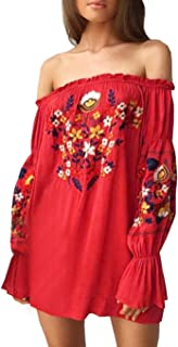 R.Vivimos Womens Floral Embroidered Off Shoulder Long Sleeve Short Dresses