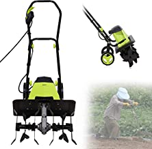 Electric Tiller Cultivator Rotavator, 1500W Powerful Garden Soil Cultivator Rotavator with 6 Steel Blades, 40cm Cutting Wi...