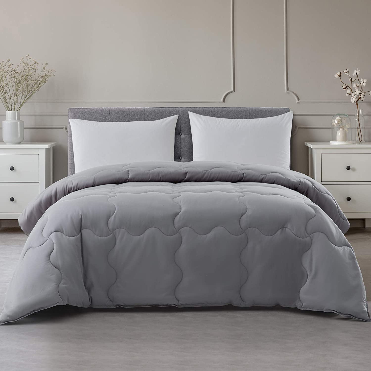 Reflections Max 73% OFFicial mail order OFF 500 Thread Count Scalloped Full Queen Comforter Grey