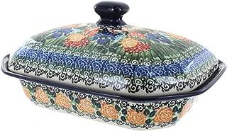 Blue Rose Polish Pottery Summer Blooms Medium Covered Baking Dish