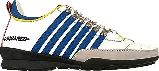 2bf2ebd8a DSQUARED Scarpe Sneaker Vitello + Texture GOM. Uomo W16SN131 912 M313 Bianco  Blu