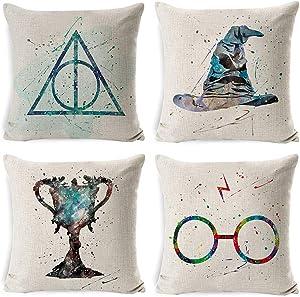 4PC Decorative Pillowcase Set Throw Pillow case Pillow Cover Cotton Linen Cushion Covers for Home/car/bar/Restaurant 18 x 18 inch-Harry Potter PC2020071007