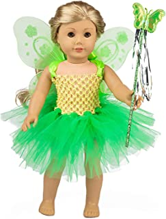ebuddy 3pc/Set Green Angel Doll Clothes Include Dress Magic-Wand Wing for 43CM Baby Born Doll,18 inch American Girl Doll