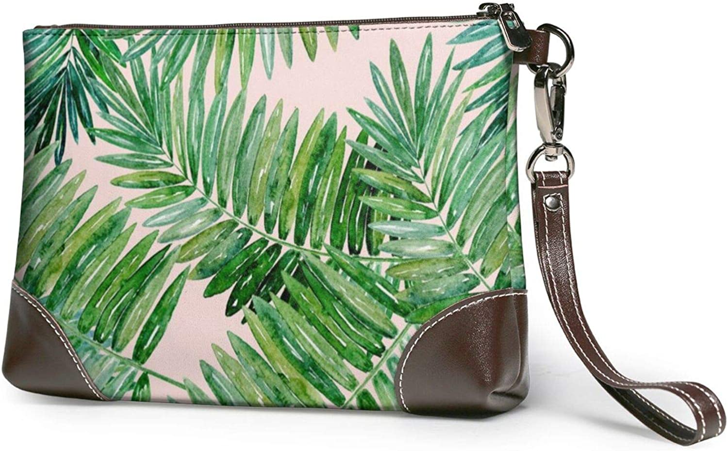 Palm Tree Leaves Printed Women'S Wristlet Handbags Purses Wallets Evening Leather Clutch Bags 8in X 5.5in X 1.5in