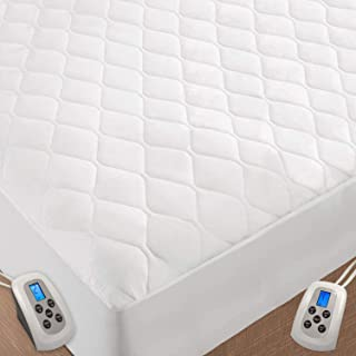 Quilted Heated Mattress Pad, Dual Temperature Dual Controllers, Electric Soft Warming and Fitted Bed Skirt Design, Washable Heated Mattress Pad with 10 Heating Settings/Safety 10 Hours (King, White)