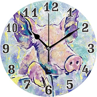 Toprint Cute Animal Pig Pattern Round Acrylic Wall Clock, Silent Non Ticking Art Painting Clock for Kids Girls Children Bedroom Living Room School Home Decor