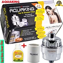 AQUAKING Hard Water Shower Filter - Also Fits On Tap Reduces Chlorine, Limescale from Well Water Gives Glowing Skin, Protects Eyes, Nails