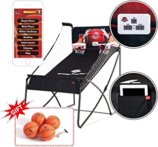 "Sportcraft Online App+ Electronic Basketball Double Hoop Shot Arcade, Heavy Duty 1 1/4"" Tube ,Built in bluetooth, with free 7"" rubber basketballs x 4, pump & needle"