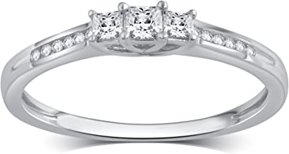10k Solid Gold Princess or Round Diamond Three Stone Ring (1/4-1/2 cttw, I-J Color, I2-I3 Clarity)
