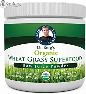Dr. Berg's Wheat Grass Superfood Powder - Raw Juice Organic Ultra-Concentrated Rich in Vitamins & Nutrients - Chlorophyll & Trace Minerals - 60 Servings - Gluten Free Non GMO - 5.3 oz (1 Pack)