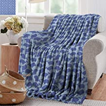 XavieraDoherty Summer Blanket,Whale,Pattern with Cute Cartoon Whales Shoal on Blue Background with Polka Dots, Violet Blue Pale Blue,Lightweight Breathable Flannel Fabric,Machine Washable 70