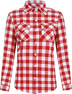 Women's Plaid Button Down Shirt Long Roll up Sleeve Blouse Casual Buffalo Top