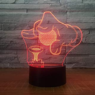 Onmyfly 3D Night Light Lamp Golf Tournament 3D 7 Color Lamp Visual Led Night Lights for Kids Touch USB Table Lamp Baby Sleeping Nightlight