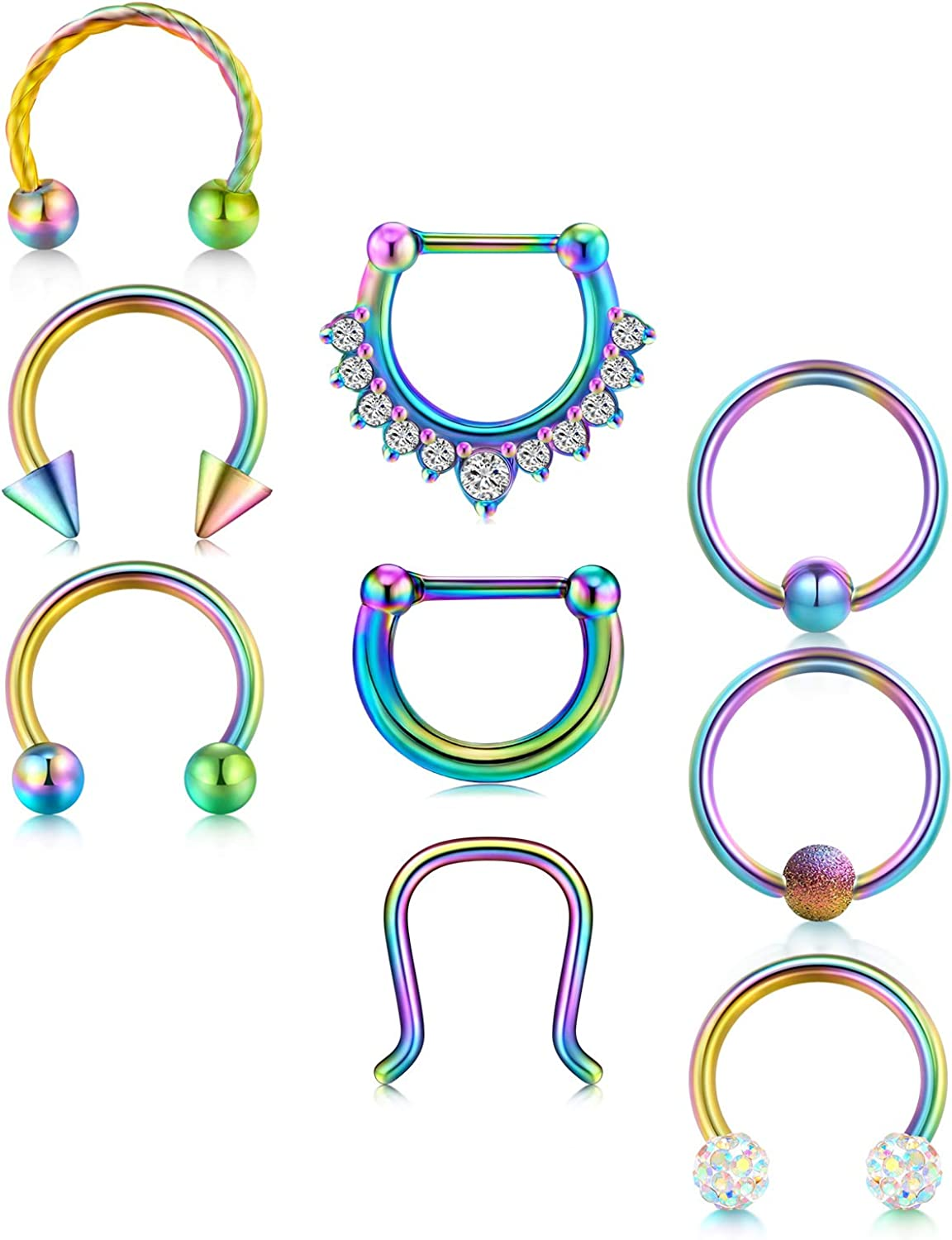 LAURITAMI 16G Septum Clicker Nose Rings Hoop Stainless Steel Cartilage Daith Tragus Helix Hinged Seamless Clicker Daith Rook Earrings Piercing Jewelry