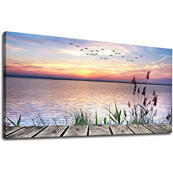 SUNSET ON DOCK LANDSCAPE CANVAS PICTURE PRINT WALL ART HOME DECOR FREE DELIVERY