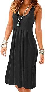 8a48a2ee560 VERABENDI Women s Summer Casual Sleeveless Mini Plain Sundresses Pleated  Vest Dresses